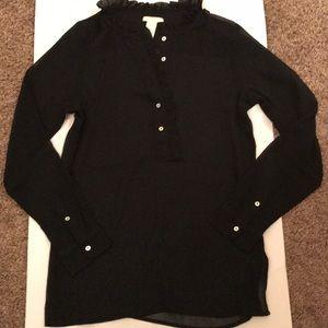 Chiffon long sleeve half button shirt